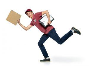 rennender Paketbote