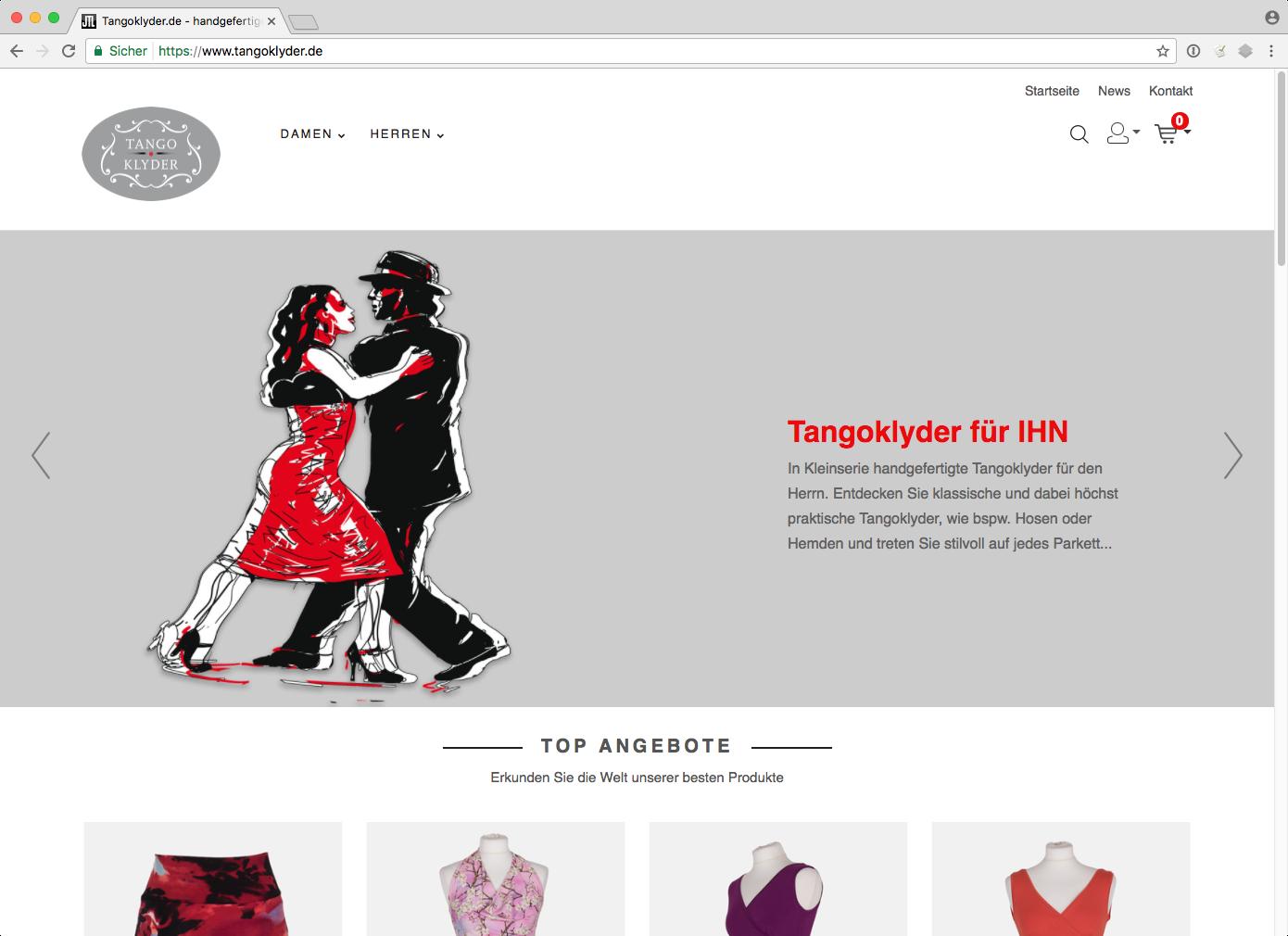 Screenshot des Onlineshops von tangoklyder.de
